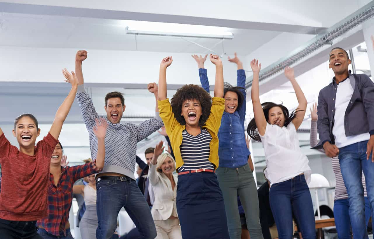 coworkers excited about team building